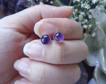Purple Amethyst Earrings - silver stud earrings