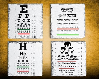 Ophthalmologist Optician Gift Idea, Vision Testing Coaster Set, Hostess Gift, Slate Drink Coaster Set of Four, Birthday Present Idea