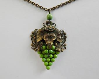 Antique Art Deco Brass Grape Pendant Necklace
