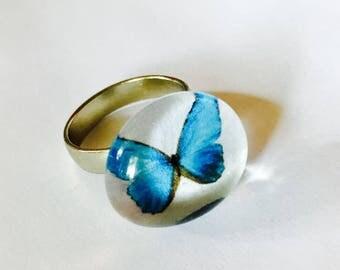 Blue Butterfly Emoji Adjustable Glass Ring