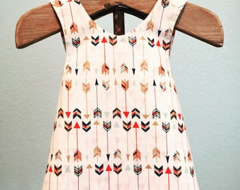 LITTLE ARROW Girls Reversible Pinafore/Top~Mint,Gold,Rose,Navy~Aztec~Boho~Girls Matching~Summer Outfit~Birthday Outfit~Size 4T~Ready to Ship