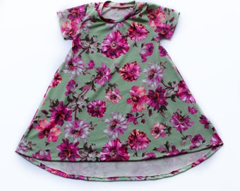 Magenta Floral on Sage High Low Hem Dress - babies, toddlers, girls