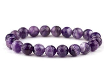 Amethyst Bracelet, Feburary Birthstone, Beaded Bracelet, Purple Yoga Bracelet, Purple Jewelry, Natural Amethyst
