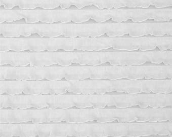 "1"" White Cascading Ruffle Fabric  by 1 yard"
