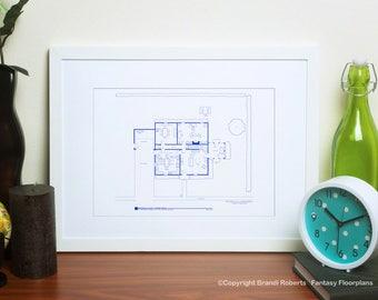 Family Guy House Floor Plan - Blueprint Poster Art for Lois & Peter Griffin TV Home - Gift for Him!