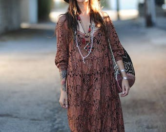 Brown Paisley Lace Stitch Gown Dress
