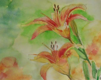 """Watercolor Painting - """"Day Lillies"""""""