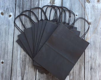 "100 Pack Black Gift Bags/Wedding Welcome Bags/8""x4""x10"""
