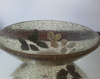 Vintage 50's lucite perspex Glitter Bowl with pressed leaves