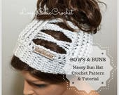 Bows and Buns Messy Bun Hat Crochet Pattern, Messy Bun Beanie Crochet Pattern and Tutorial, Ponytail Hat Crochet Pattern