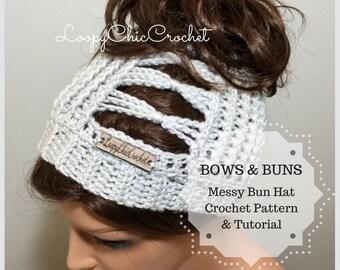 Bows and Buns Messy Bun Hat Crochet Pattern, Messy Bun Beanie Crochet Pattern and Tutorial, Ponytail Hat Crochet Pattern