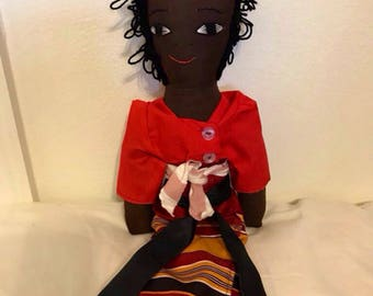 "Beautiful Mama African doll dressed in Ugandan traditional outfit, handmade with african fabric / Carrying a baby on her back. 16"" tall & 3"""