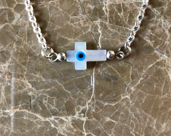 Evil Eye Necklace Evil Eye Cross Necklace Mother of Pearl Evil Eye Necklace Third Eye Cross Necklace
