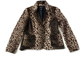 90s Leopard Animal Print Faix Fur Jacket