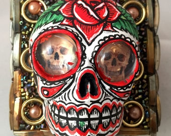 Small jeweled Hand Painted/Sculpted Day of the Dead All Souls Skull Box