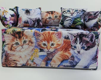 Hand-made 3 Little Kitten Couch/Sofa Tissue Box Cover