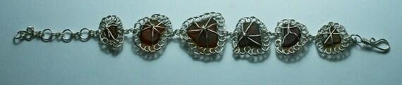SEA FLOWERS (Brown) SEAGLASS - Bracelet set in silver