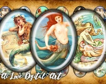 Digital printable images Vintage Mermaid, digital download cabochon template oval 18x25mm, 30x40mm, digital collage sheet instant download