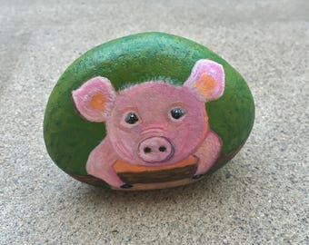 Pig Painted Rock, Pig Art, Baby Pig, For the Kitchen, For your desk, for Kids Room, For Her, Etsy Gift Idea, 3x4in, MelidasArt