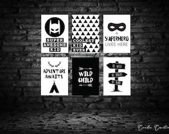 Boys Wall Art Prints - SET OF 6 - Instant Download