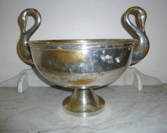 Large antique silver plated center piece bowl with swans handles c 1900