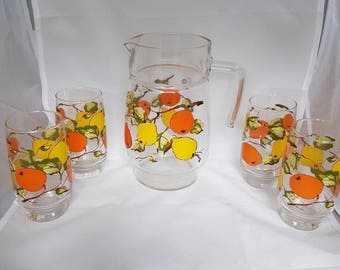 Vintage//retro//sap glass with can//set with fruit juice glasses Retro//print////sap/glass/party//vintage//4 glasses//