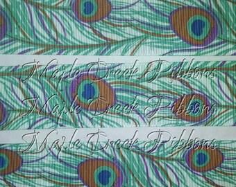 "1-1/2"" Peacock Feather Print Grosgrain Ribbon 1-1/2"" x 1 yard"