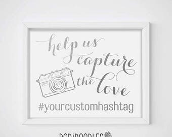 wedding hashtag sign etsy