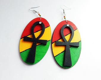 Ankh Earrings African Jewelry Wood Hand Painted