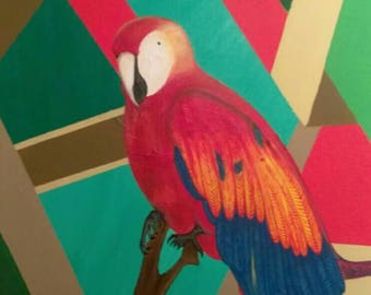 Scarlet Macaws acrylic painting.