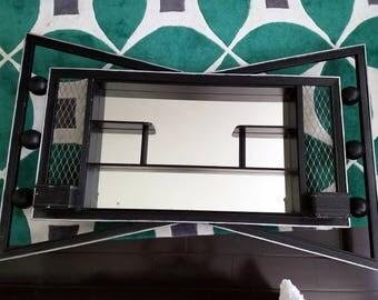 Mid century shadow box mirror wall shelf with planters Illinois Moulding vintage shadowbox black retro display