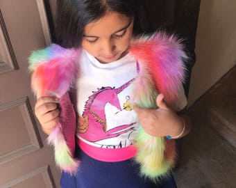 Girls unicorn Faux fur vest and LEGWARMER COMBO rainbow unicorn newborn baby girl kidsfaux fur wrap baby fur vest Shrug Cover Up Stole Wrap
