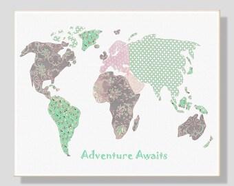 45 Nursery wall art,world map nursery,baby room decor,mint,pink,gray,adventure awaits,tableau chambre enfant
