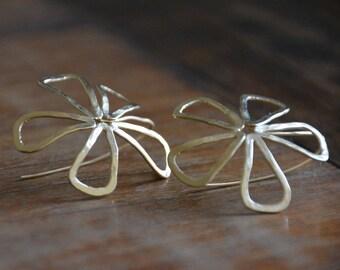 Large gold flower earrings, flower earrings, gold delicate earrings, floral earrings, gold statement earrings, lightweight earrings women