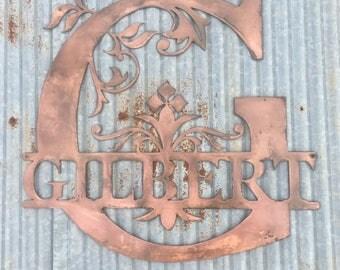Ornate Steel Name Sign