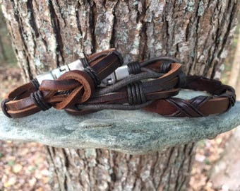Men's Leather Bracelet, Gift For Men, Gift For Boyfriend, Gifts Under 20, Leather Bracelet With Secure Metal Clasp 3P-7