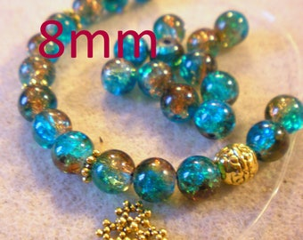 YOGA BRACELET KIT * Craquelees coffee/blue beads and Golden Pearl * 8 mm