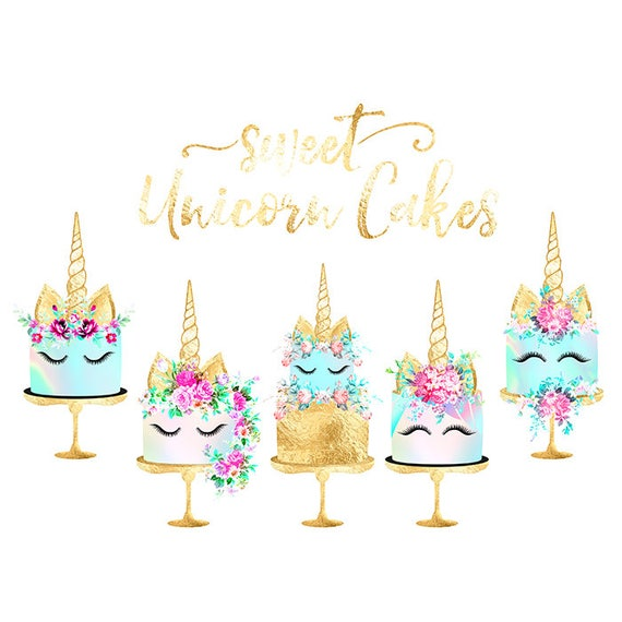 Unicorn Cake Clipart Gold Foil Cake Shabby Chic Clipart: (570 x 570 Pixel)