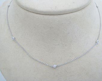 a341 Elegant & Stunning Diamond Necklace in 14k White Gold