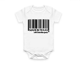 Made in fill in city, country, state, honeymoon /  Funny onesie or shirt / Barcode shirt / where kid was made onesie / Location shirt