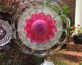 Hot Pink Garden Glass Flower