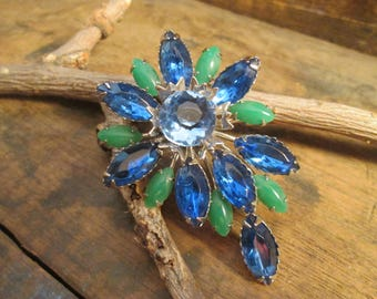 vintage silver tone marquise blue and green marquise rhinestone brooch