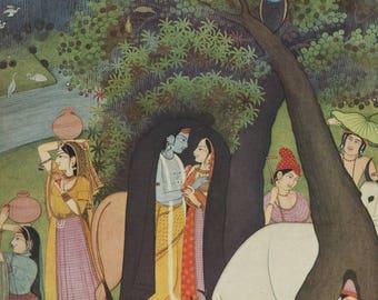 Indian Miniature Painting 1959 printed reproduction - Krishna & Radha in the rain.