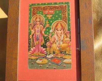 Framed Antique Indian Hindu Postcard - Lakshmi and Ganesh.