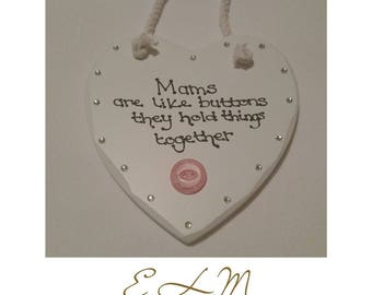 Mam/Mum/Mother heart plaque