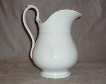 Rare Antique Small French ironstone Water or milk White Pitcher 1800s white Jug / swan neck handle by Creil Montereau
