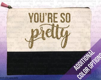 You're So Pretty Two Tone Makeup/Travel Cosmetic Bag with Black Canvas Trim -  Black, Silver or Gold Glitter