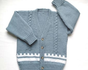 Toddler knit sweater - 2 to 3 years - Childrens cardigan - Kids knit sweater - Boys blue jumper - Girls sweater - Kids cardigan