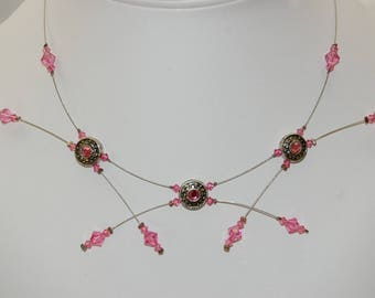 crew neck 1collier pink Crystal bicone beads