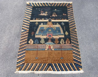 Antique Chinese banner carpet rug hand knotted wool Gansu 19thC 5.2x7.8
